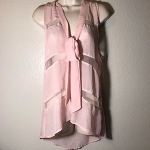 Cotton Express sheer panel button bow tie blouse